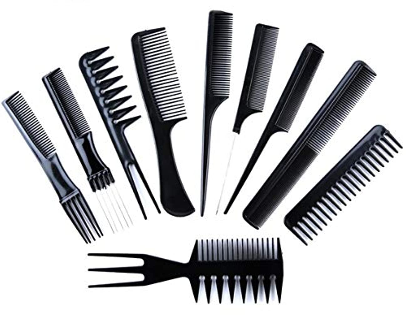 スワップサーキットに行く問い合わせる髪の櫛、黒髪の櫛、帯電防止抗折れ防止結び目のない櫛、理髪の10組の長い髪の櫛の髪の櫛、美容院の必須の理髪ツール、理髪の櫛のギフト