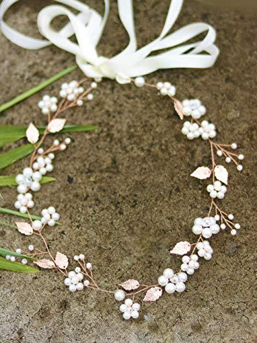 Handmadejewelrylady Haarband für Hochzeiten, Brautschmuck für das Haar, Design: Blätter in Roségold, für Damen