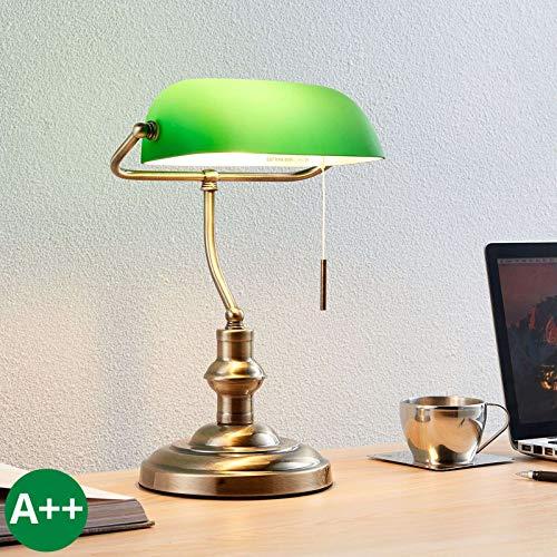 Lampada da tavolo 'Milenka' (Antico) colore Marrone, in Metallo ad es. Soggiorno & Sala da pranzo (1 luce, E27, A++) di Lindby | lampada da scrivania, lampada da tavolo