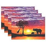 Use7 Ölgemälde Elefant Afrika Sonnenuntergang Platzdeckchen Tischmatte 30,5 x 45,7 cm Polyester Tischset Platzset für Küche Esszimmer 4er-Set