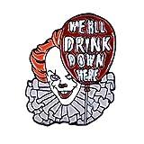 Broche en émail en forme de clown de Stephen King's IT - Joker Pennywise le clown dansant, Zinc,