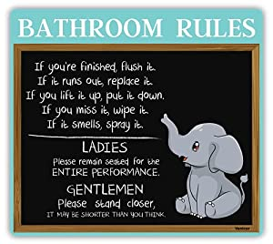 Venicor Elephant Bathroom Decor Sign - 12 x 13 Inches - Aluminum - Elephant Gifts for Women - Funny Bathroom Rules Wall Art - Elephant Decorations for Home Accessories Set Pictures Figurines Statue