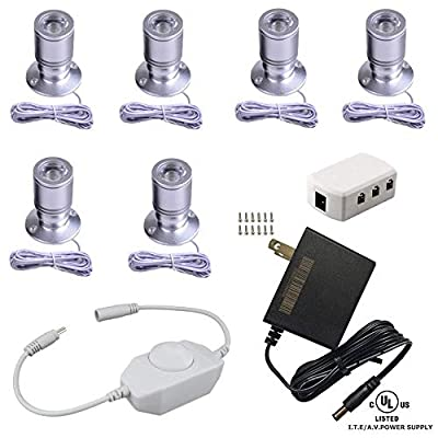 Xking Dimmable Mini LED Spotlight 1.5W 12VDC Jewelry Showcase Display Lighting Silver Shell with Online PWM Dimmer (Cold White, Pack-6)