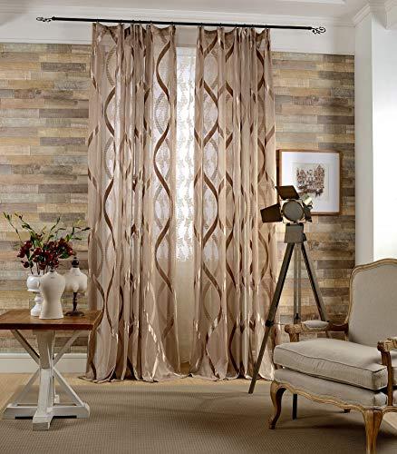 Naturer Braun Vorhänge Transparent 245x140 Lang Welligkeit Stickerei Muster 2 Stück Tüll Gardinen Durchsichtig Kräuselband Fenstervorhang Dekoschal Wohnzimmer Schlafzimmer