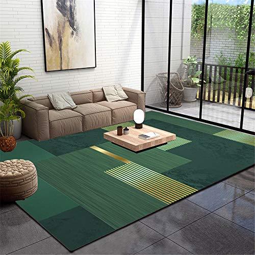 WQ-BBB Teppichs Living teppic Einfach Zu Verstauen Sofa Teppiche Keine allergien endothermisch Teppichboden Grünes gelbes geometrisches Streifenmuster Rug 80X160cm