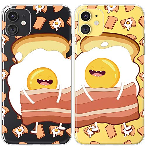 Mertak TPU Couple Cases for Apple iPhone 11 Pro Max Xs Xr X 10 8 Plus 7 6s SE 5s Eggs Bacon Cartoon Clear Funny Anniversary Cover Food Boyfriend Cute Print Slim Design Lightweight Relationship Toast