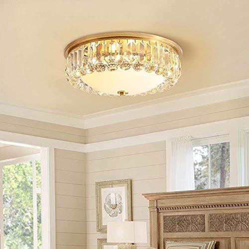 ZLX Lámpara De Techo De Dormitorio De Led Americano De Cobre Redondo Lámpara De Cristal Sencilla Lámpara De Ambiente Cálida Habitación