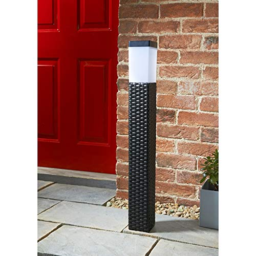 Rattan Light Tall Solar Rattan Post Light - Brown 80cm