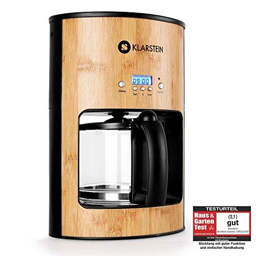 Klarstein Bamboo Cafetera 1080W 1,25L temporizador bambú