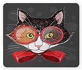 Alfombrilla para ratón de Gato, Hipster Calico Kitty con Gafas Rojas y un Lazo Smart Feline Animal Print, Alfombrilla Rectangular de Goma Antideslizante, tamaño estándar, Negro Gris Oscuro