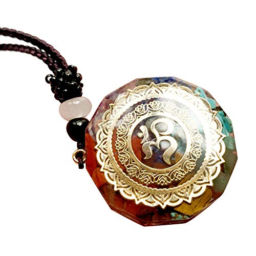 Qingxin Lucky Orgonite Necklace for Men Women 7 Chakra Healing Crystal Pendant Spiritual Yoga Jewelry Gift