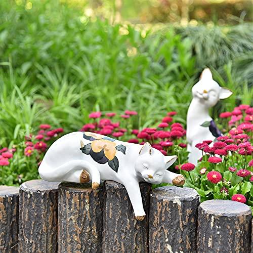 Sungmor Lovely Cat Garden Statue - Ornamenti per statue di gatti da esterno per interni - Giardino di casa Piante da giardino Stand Scaffale per libri Scaffale da parete Tavolo Decorazione scala
