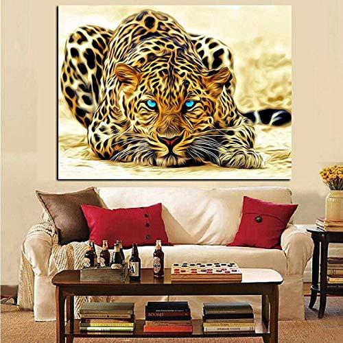 Impresión HD Impresión HD Leopardo Observando animales de presa en lienzo Arte de la pared Póster Impresiones Imagen Mural Sala de estar Sofá 60x80cm sin marco
