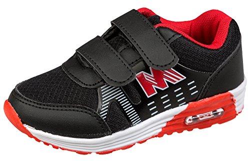 gibra® Kinder Sportschuhe, mit Klettverschluss, schwarz/rot, Gr. 26