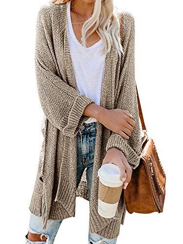 Ybenlow Womens Loose Knit Open Front Kimono Cardigans Drape Cape Long Sleeve Sweater Cloak Outwear (Medium, Khaki)