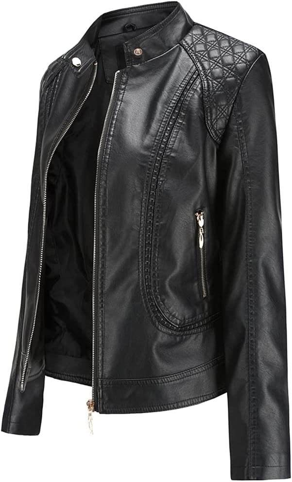 ZSQAW Leather Jacket Women Zippers Spring Autumn Women's PU Leather Jacket Mandarin Collar Red Motor Biker Coat Female Oversized (Color : Red, Size : L Code)