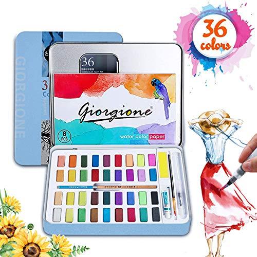 RabbitStorm Pintura de Acuarela, con 36 Colores, se Combina con Lápiz de Carbón, Pincel de Acuarela y Papeles de Acuarela para Pintura, Diseño Artístico y Juegos de Regalo