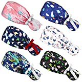 6 Pieces Adjustable Bouffant Hats Sweatband Bouffant Turban with Buttons and Ribbon Colorful Print Head Tie Covers Adjustable Ribbon Tie Ponytail Bouffant Caps for Women (Elegant Style)