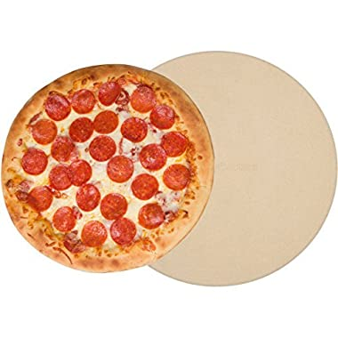 Pizza Stone for Oven Baking Grilling - 15 Inch 3/4  Extra Thick - Cooking & Baking Stone for Oven and BBQ Grill - With Durable Foam Packaging, Gift Box & Pizza Recipes EBook