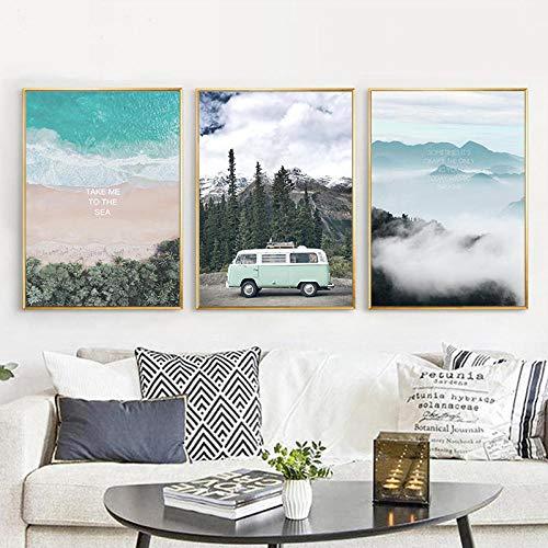 Wydlb mintgroen auto reizen canvas, minimalistische kunstdruk poster abstracte landschap wandfoto's woonkamer schilderij wooncultuur geen lijst 60 x 80 cm x 3