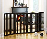 PAWLAND Wooden Freestanding Foldable Pet Gate for Dogs,4 Panel, 36 inch Tall Fence, Dog Gate for The House, Doorway, Stairs, Extra Wide and Tall, Espresso