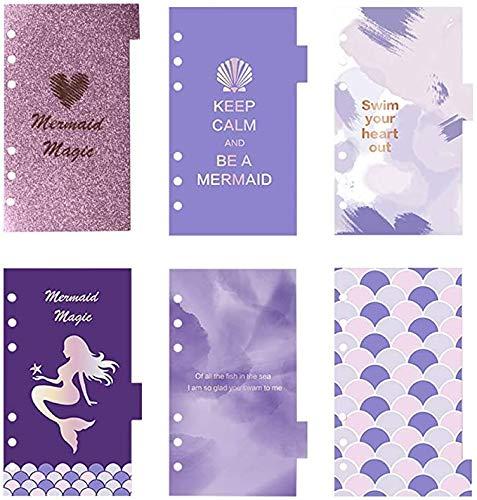 Multibey Binder Divider Index A6 Loose Leaf Refills Decorative Divider Separator Page, 6 Sheets Per Set for 6 Holes Binder (Mermaid Purple)