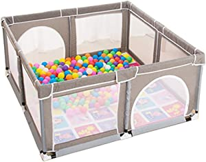 LXDDP Baby Playpen with Balls Grey Playard Mattress  Toddlers  Room Divider  Nursery Center Play Fence  150 150cm