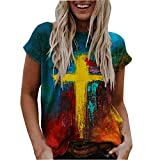 Women's Casual Shirt, Oil Painting Faith Jesus Cross Printed Short Sleeve Sweatshirt S-5XL Blue