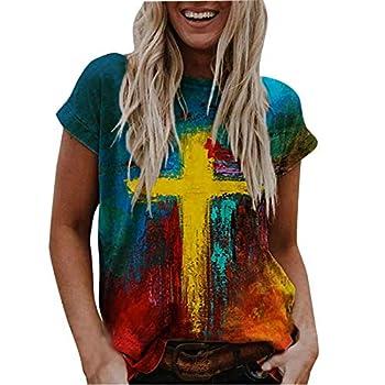 YAnGSale Women s Oil Painting Sweatshirt Casual T-Shirt Faith Jesus Cross Printed Blouse Fashion Blouse Pullover  A2 L