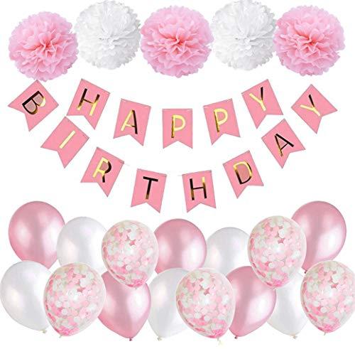 MAKFORT Geburtstagsdeko Mädchen Rosa Happy Birthday Girlande mit Pompoms und Luftballons Rosa Konfetti Luftballons für Geburtstag Partydeko Mädchen und Frauen