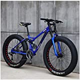 Gnohnay Bicicletas de montaña, Bicicleta de montaña rígida Fat Tire de 26 Pulgadas, Cuadro de Doble suspensión y Horquilla de suspensión All Terrain Mountain Bike,Blue Spoke,24 Speed