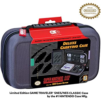 Nintendo Licensed Classic Edition NES & SNES Case - Protective Hard Shell Deluxe System Case  Grey Ballistic Nylon Exterior