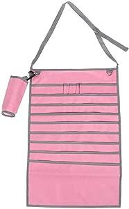 Student Hanging Storage Bag  Multiple Pockets Adjustable Desk Side Hanging Storage Bag Textbook Pen Holder with Bottle Storage Bag Pink