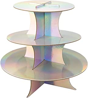 Andaz Press Iridescent 3 Tier Cupcake Stand, Holds 20 Standard Cupcakes, Holographic Disposable Cupcake Holder, Party Supplies Serving Platter for Birthday, Bridal Shower, Baby Shower, Bachelorette