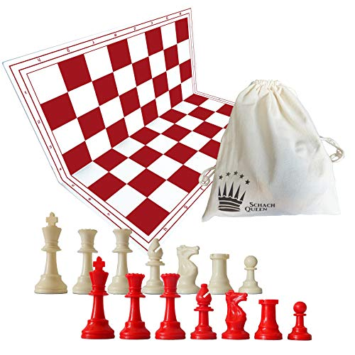 Schach Queen E681 Jeu d'échecs de, rouge et blanc, Champ Taille 57 mm - Version Anglaise