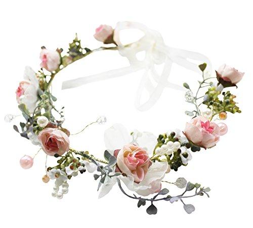 Brikuinr Rose Halo Flower Wreath Crown Floral Hair Garland Headpiece with Ribbon Boho Festival Wedding Pink, One Size