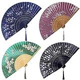 Coucoland 4 abancos plegables de seda de mano estilo japonés vintage para decoración de bodas o fiestas (estilo 2)