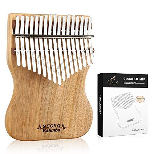 GECKO Kalimba 17 Sleutels Volledige fineer Kamfer hout, met Instructie en Tune Hamer, Draagbare Duim Piano Mbira Sanza K17CAP