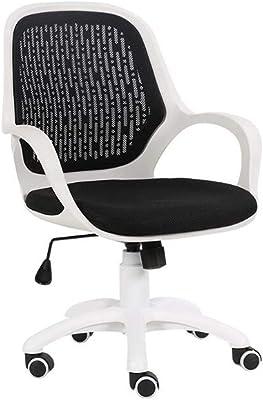 Medium Back Desk Chairs, Ergonomic Design Tilt Mechanism 360 Degree Swivel Home Work Computer Gaming (Color : White)
