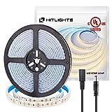 Waterproof Warm White LED Light Strip, 16.4 Ft Premium High Density LED Strip, 600 Bright 2835 LEDs, 164 Lumens/Foot, DC 12V Tape Light, UL-Listed