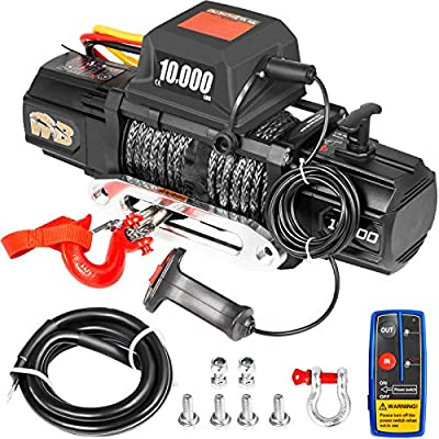 VEVOR Electric Winch 10000lb Load Capacity Truck Winch Compatible with Jeep Truck SUV 100ft/30.5m Synthetic Rope 12V Power Winch with Wireless Remote Control, Powerful Motor for ATV UTV Off Road Trail