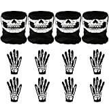 Elcoho 4 Pairs White Skeleton Short Gloves and 4 Pieces Seamless Skull Face Ghost Mask for...