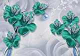 wandmotiv24 Fototapete Türkise Abstrakte Blumen S 200 x 140cm - 4 Teile Fototapeten, Wandbild, Motivtapeten, Vlies-Tapeten Schmetterlinge, Diamanten, Modern M2004