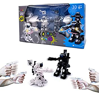 KO Bot - 2 Player RC Boxing Robots Fight To Win! Remote Control Battle Robot Toys For Kids With Cool Light & Sound Effects Gesture Sense/Controller 2 Operating Modes! 5 Punches To K.O Your Opponent!