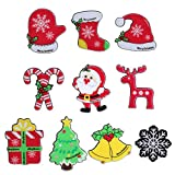 Linsoir beads Christmas Brooch Pins Set Christmas Design Assorted Lapel Pins Set for Girls Teens Women Snowflake/Candy Cane/Christmas Tree/Christmas Hat/Reindeer Button Pins Gift Jewelry Pins 10 Pcs
