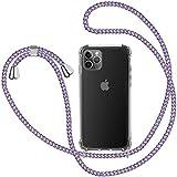 Funda con Cuerda para iPhone 11 Pro, Carcasa Transparente TPU Suave Silicona Case con Correa Colgante Ajustable Collar Correa de Cuello Cadena Cordón para iPhone 11 Pro 5.8'' - Violeta Claro