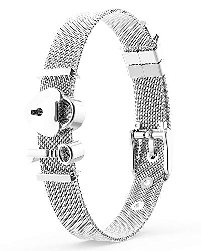 THIORA® - Armband mit Charms | Anhänger Charms | Silber | Lock & Key | Geschenk | Mesh Charmband Set Damen (Unlocked Love - Silber)
