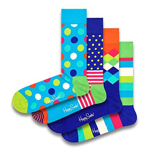 Happy Socks farbenfrohe & verspielte Big Dot Geschenkboxen für Männer & Frauen, Premium-Baumwollsocken, 4 Paare, Größe 41-46.