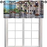 Cenefa de cocina antiguas casas en una ciudad pequeña, mares y macetas en ventanas estilo pintura al óleo 91,4 cm de ancho x 45,7 cm de largo para sala de estar, beige, azul pálido