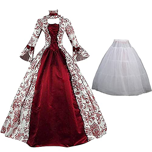 Vestido victoriano rojo para mujer Vestido de baile Vestido gótico medieval vintage para mujer Vestido renacentista con mangas acampanadas Vestido de baile rococó para fiesta de carnaval de Halloween